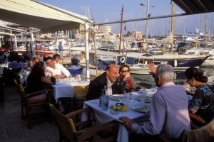 Taking it easy: The port of Piraeus, Athens, is known for its seafood restaurants.