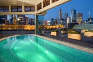 Melbourne's skyline, as seen from the Chuan Jacuzzi at The Langham.
