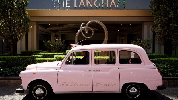 Pink taxi used by guests of The Langham, Melbourne.