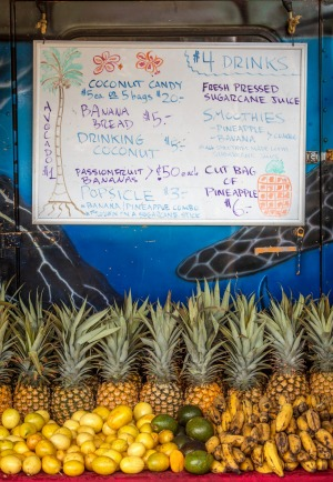 One of many roadside fruit stands dotted along the Hana Highway.