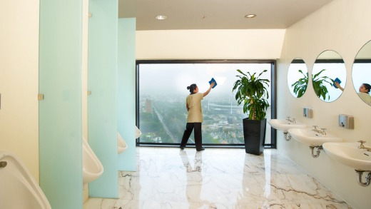 Freebie: The 35th floor toilets of the Sofitel have magnificent floor-to-ceiling view out to the Dandenongs