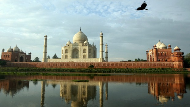The world's most famous monument to love: The 17th century Mughal-built Taj Mahal mausoleum in Agra, India.
