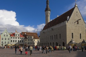 Tourist spots: Tallinn town hall and old town square.
