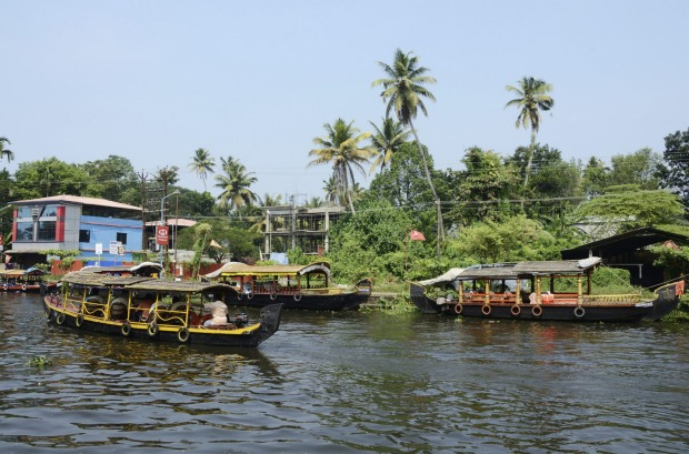 Tourist boats at Kerala backwaters in Alleppey, Kerala,India.