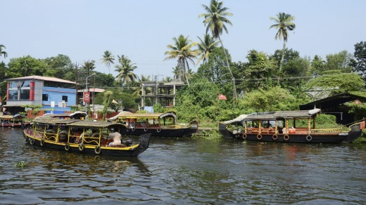 Tourist boats at Kerala backwaters in Alleppey.