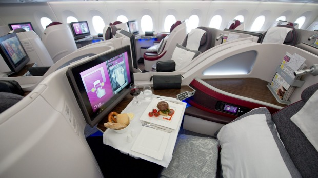 First class seats of Qatar Airways first Airbus A350 XWB aircraft at an airport in Frankfurt, Germany. Frankfurt is the ...