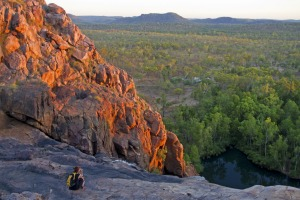 Soaking in the sunset at the top of the waterfall at Gunlom Gunlom, Kakadu National Park.