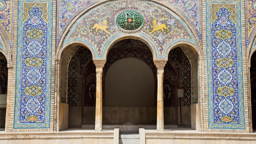The mosaic arc of Golestan  palace in Tehran, Iran.