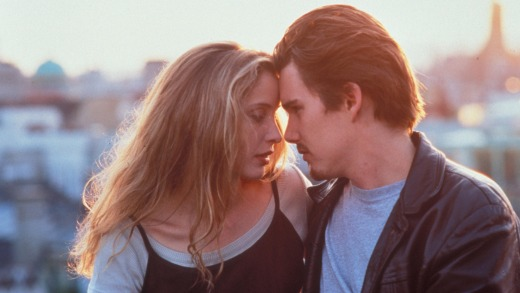 Julie Delpy and Ethan Hawke in <i>Before Sunrise</i>.