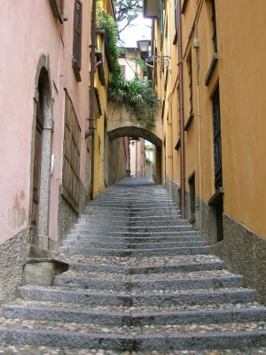 A stone staircase in Argegno.