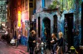 General view of people enjoying the nightlife in Hosier Lane in the Melbourne CBD on October 24, 2014 in Melbourne, ...