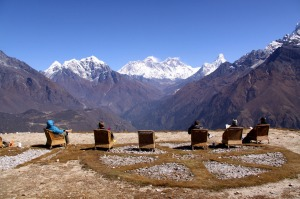 Best living room in the world: Climbers sit back and take in the view from Kongde.
