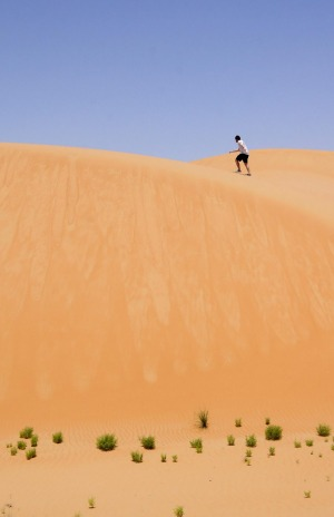 It only took 45 seconds to climb the dune, but it quickly taught a lesson about the intensity of the desert.
