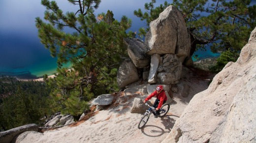Mountain-biking the Flume Trail.