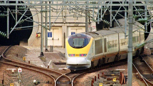 THE LONGEST UNDERSEA TUNNEL IN THE WORLD: A Eurostar train enters the Channel Tunnel in Calais, northern France.