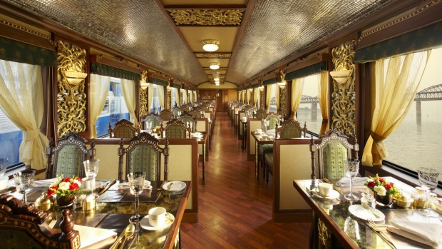 The Maharajas' Express can cost up to $3385 per night, per passenger. A a dining car on the Maharajas' Express.