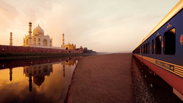 The Maharajas' Express passes the Taj Mahal.