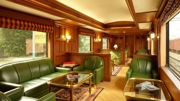 THE MOST EXPENSIVE TRAIN JOURNEY IN THE WORLD: The Rajah Club on board the Maharajas'  Express.