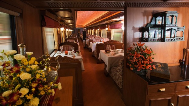 THE MOST EXPENSIVE TRAIN JOURNEY IN THE WORLD: The Safari Bar on board the Maharajas' Express.