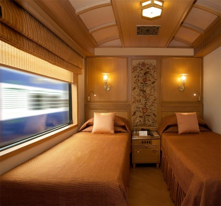 A deluxe cabin on board the Maharajas' Express.