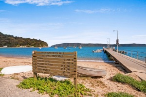 Patonga Beach and ferry wharf.
