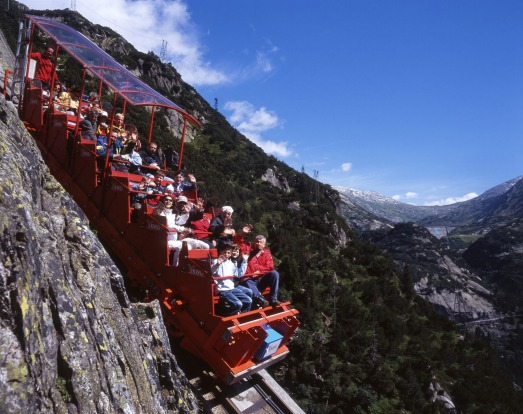 GELMER FUNICULAR, BERN CANTON, SWITZERLAND: Europe's steepest funicular and one of the world's most breathtaking, the ...