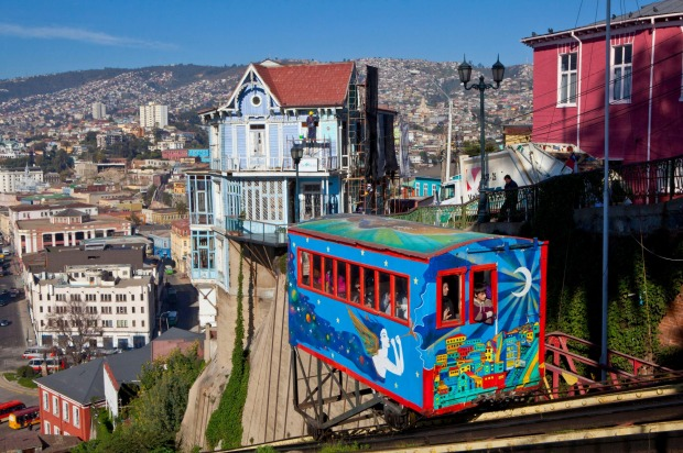 ARTILLERiA FUNICULAR, VALPARAISO, CHILE: Valparaiso once had more than 30 ascensores, the funiculars that ladder the ...