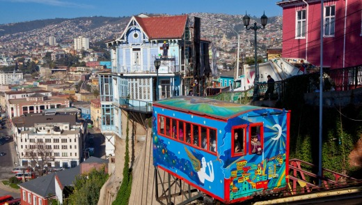 The Cerro Artilleria elevator  in Valparaiso, Chile.