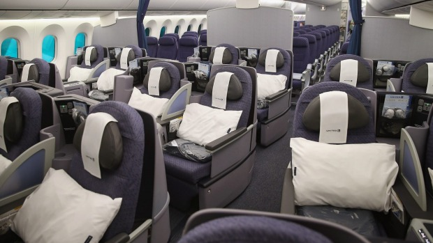 The business class cabin on board a United Airlines 787-9 Boeing Dreamliner.