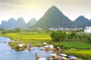 Bamboo rafts on a river near Guilin.