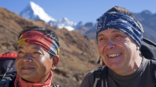 Trekking guide Mick Chapman (right) in the Himalayas