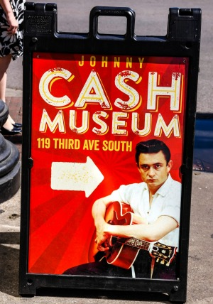 Johnny Cash Museum pavement sign in Nashville Tennessee.