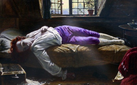 The Death of Chatterton by Henry Wallis,  in the Birmingham Art Gallery.