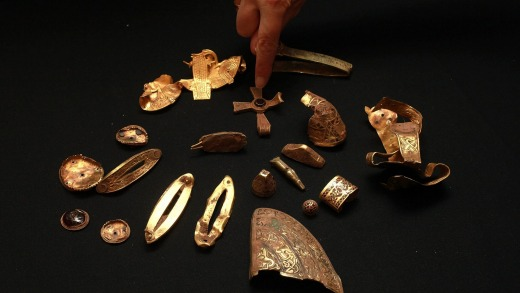 Part of the The Staffordshire Hoard, the UK's largest collection of Anglo Saxon treasure ever found, at Birmingham Museum.
