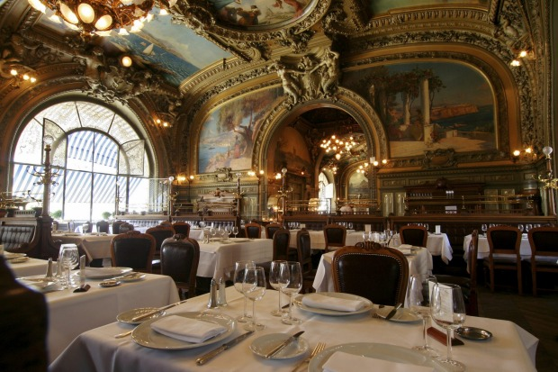 Old fashioned restaurant at Gare de Lyon in Paris Restaurant Le Train Bleu in Gare de Lyon, France.