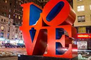 The famous Love sculpture by Robert Indiana is located on 6th Avenue.