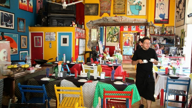 Inside Colonia's quirky El Drugstore cafe.