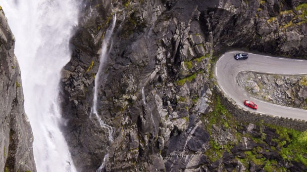 The twisting bends of the Trollstigen pass in Norway.