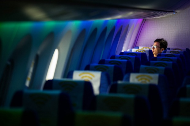 The interior of a Boeing 787 Dreamliner operated by Scoot.