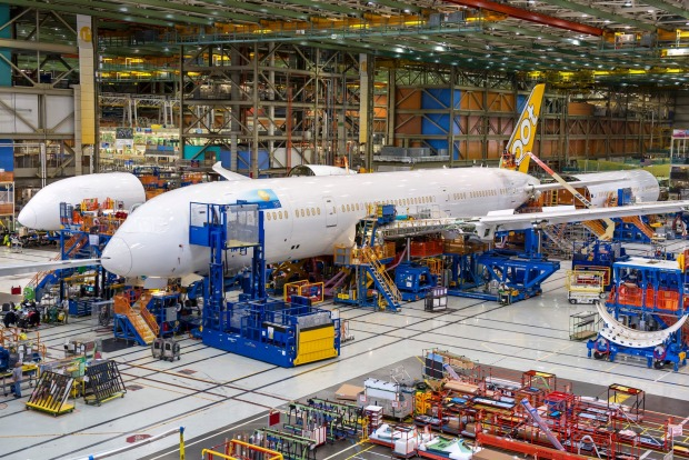 Scoot's Dreamliner 787-9 at the factory.