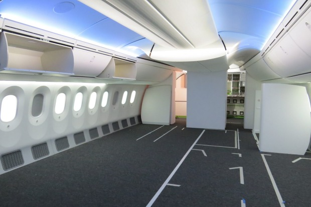 Interior mock-ups help plan the plane's final fit-out.
