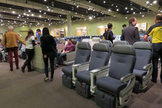 Choose your seat: The seating showroom at Boeing's factory in Seatlle.