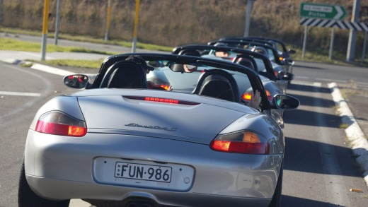 Queuing up: We hit the road, top down, out of the lock-up and into the Macarthur countryside.