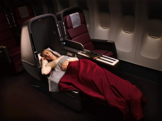 Skybed in Business Class, Qantas A380.