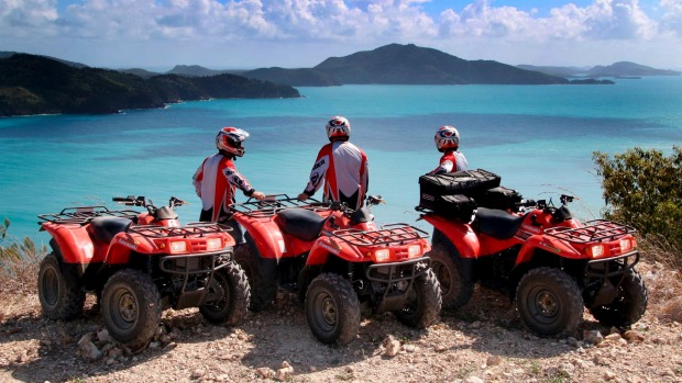 Experience panoramic views of the Whitsundays during a quad biking adventure.