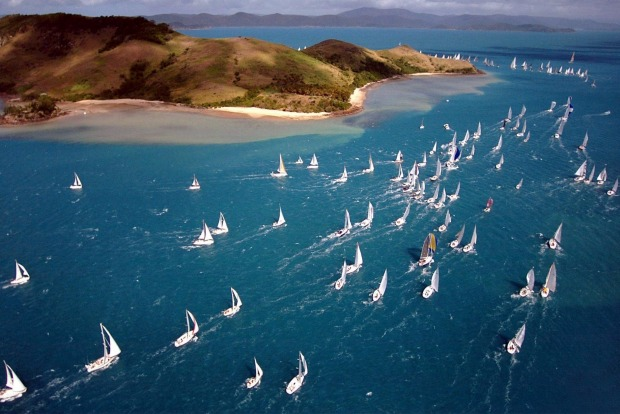 Yachts competing around Dent Island during the Audi Hamilton Island Race Week.
