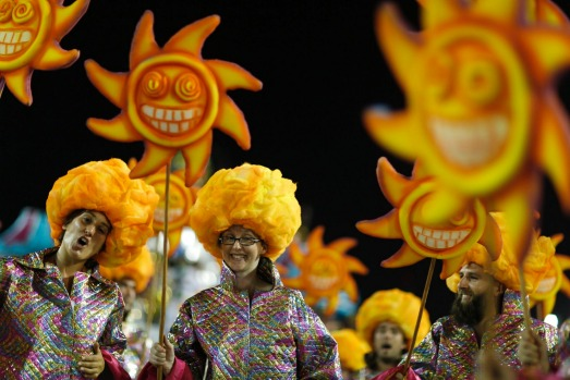 Revellers from the Alegria da Zona Sul samba school take part in the Group A category of the annual Carnival parade in ...
