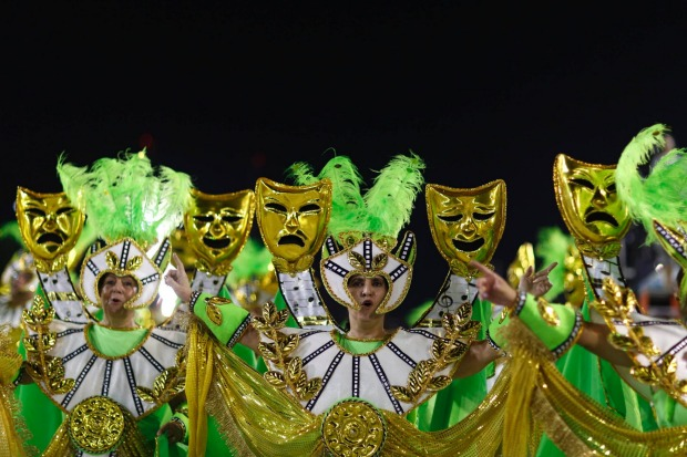 Revellers from the Academicos de Santa Cruz samba school take part in the Group A category of the annual Carnival parade ...