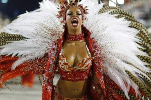 A reveller from the Alegria da Zona Sul samba school takes part in the Group A category of the annual Carnival parade in ...