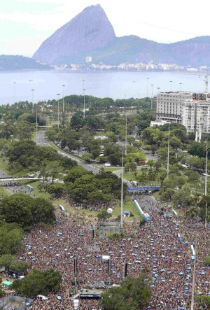 A view is seen of the annual block party known as 'Bangalafumenga', one of the many carnival parties to take place in ...